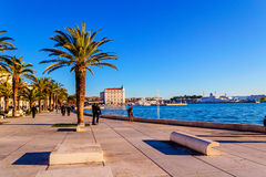 SPLIT, CROATIA - OCTOBER 1: Turists and residents walking along Royalty Free Stock Images