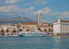 Split, Croatia - panoramic view with cruising ship at pier Royalty Free Stock Images
