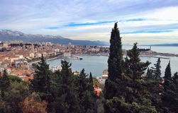 Split, Croatia. Panoramic view of Split with forest on foregroun , Croatia Stock Photography