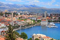 Split Croatia. Split, Croatia (region of Dalmatia). UNESCO World Heritage Site. Mosor mountains in background Stock Photography