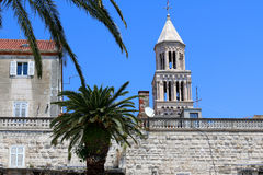 Split, Croatia. Saint Domnius bell tower is landmark in Split, Croatia. View from Riva promenade. Split is popular touristic destination and UNESCO World Royalty Free Stock Images