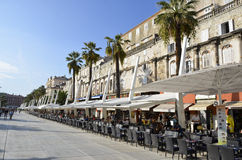 Split Croatia. Split is the second-largest city of Croatia and the largest city of the region of Dalmatia. It lies on the eastern shore of the Adriatic Sea Stock Images