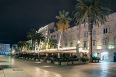 Croatia. Split. Evening embankment of Riva Stock Photos