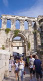 Split, Croatia - Tourists visit the old town with Roman ruins Royalty Free Stock Image