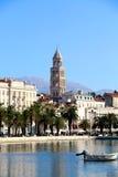 Split, Croatia. Waterfront in Split, Croatia with Saint Domnius bell tower. Split is popular touristic destination and UNESCO World Heritage Site stock photo