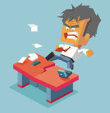 Split desk by anger Stock Images