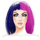 Split-Dyed Hair Trend. Woman face. Half Dyed Hair. Style trend. Hand painted fashion illustration isolated on white. Professional hair Coloring. Bob haircut stock illustration