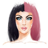 Split-Dyed Hair Trend. Woman face. Half Dyed Hair. Style trend. Hand painted fashion illustration isolated on white. Professional hair Coloring. Bob haircut royalty free illustration