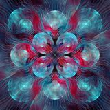 Split Elliptic Blue Light fractal art. Apophysis rendered fractal art used for abstraction colour used Black, Blue, Cyan, Red Royalty Free Stock Photography