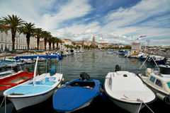 Split - esplanade and boat parking Royalty Free Stock Photos