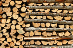 Split firewood in heap Stock Photography
