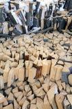 Firewood under the snow stock photos
