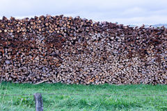 Split firewood stacked heat energy forest resource Stock Photography