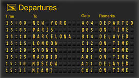 Split flap mechanical departures board. Royalty Free Stock Photos