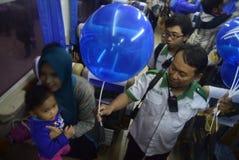 Split free balloons for the travelers Stock Photo