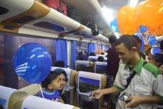 Split free balloons for the travelers Stock Photos