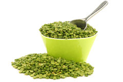 Split green peas in a green bowl Royalty Free Stock Photography