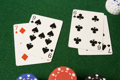 Split hand in Blackjack Stock Photo
