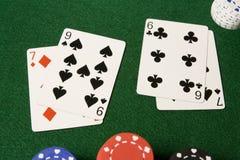 Split hand in Blackjack Stock Photo
