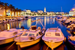 Split harbor and historic landmarks evening view Royalty Free Stock Images