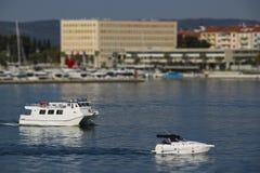 Split harbor tilt shift effect. Morning sunny photo of harbor with boats in Split, Croatia tilt shift effect stock photo