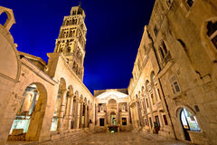 Split historic landmarks evening view. Of cathedral and Peristil square, UNESCO world heritage site, Dalmatia, Croatia Royalty Free Stock Images