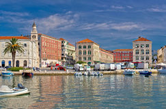 Split historic Peristil view from sea Stock Photo