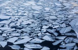 split ice on the water surface Stock Photo