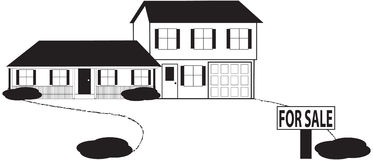 Split Level House Sketch For Sale Sign with  Stock Image
