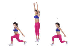 Split Lunge Jump. Step by step instructions: Begin in a lunge stance with your left leg forward. (A) Push through both feet and jump up. (B) Land in a lunge Stock Image