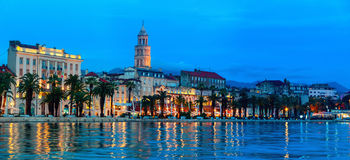 Split at night, Croatia. View of Split is the second-largest city of Croatia at night. Shore of the Adriatic Sea and famous Palace of the Emperor Diocletian Stock Photography