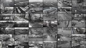 Split observation screen, stock footage