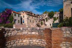Split old historic stone house Royalty Free Stock Images