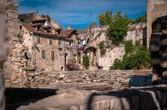 Split old historic stone houses Stock Images
