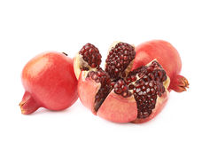 Split open pomegranate fruit Stock Photo