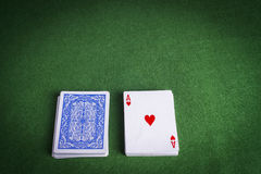 Split pack of playing cards showing Ace of Hearts Royalty Free Stock Photos
