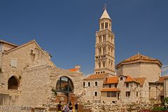 Split - palace of Emperor Diocletian - clock tower Royalty Free Stock Image