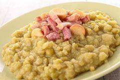 Split pea with bacon. Plate of split pea and bacon Stock Images