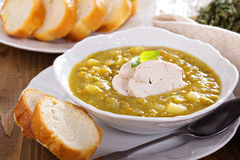 Split pea soup with chicken Stock Photo