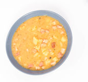 Split pea soup. Decorated with some bay leaves, peas and marjoram Royalty Free Stock Images