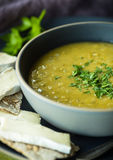 Split Pea Soup. Fresh split pea soup with crackers and brie cheese Royalty Free Stock Photos