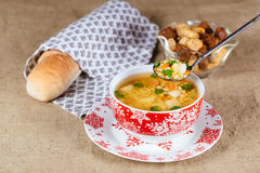 Split pea soup with ham, carrots and potatoes Stock Photography