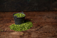 Split Peas on wooden table Stock Images