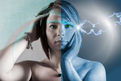 Split personality. Conceptual image of the two sides of a young womans personality. The stormy side to the right and the peaceful serene side to the left Stock Photography