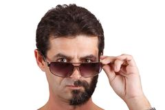 Portrait of man with half shaved face Royalty Free Stock Photos
