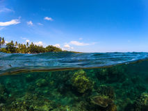 Split photo with tropical island and coral reef. Clear blue sky and underwater view. Royalty Free Stock Image