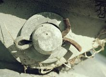 Split pin securing axe or bolt in bridge swing anchor. Split pin securing an axe or a bolt in bridge swing anchor. Cheap techical and safety solution wire white stock image