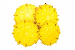 Split pineapple fresh fruit on white background Stock Photos