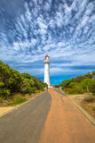 Lighthouse Aireys Inlet Victoria. Split Point Lighthouse with blue sky located in Aireys Inlet on the Great Ocean Road, Victoria, Australia Royalty Free Stock Photo