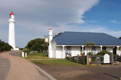 Split Point Lighthouse 1. The Split Point Lighthouse showing the Tea Room. This lighthouse was used for the childrens television series Round the Twist Stock Photos